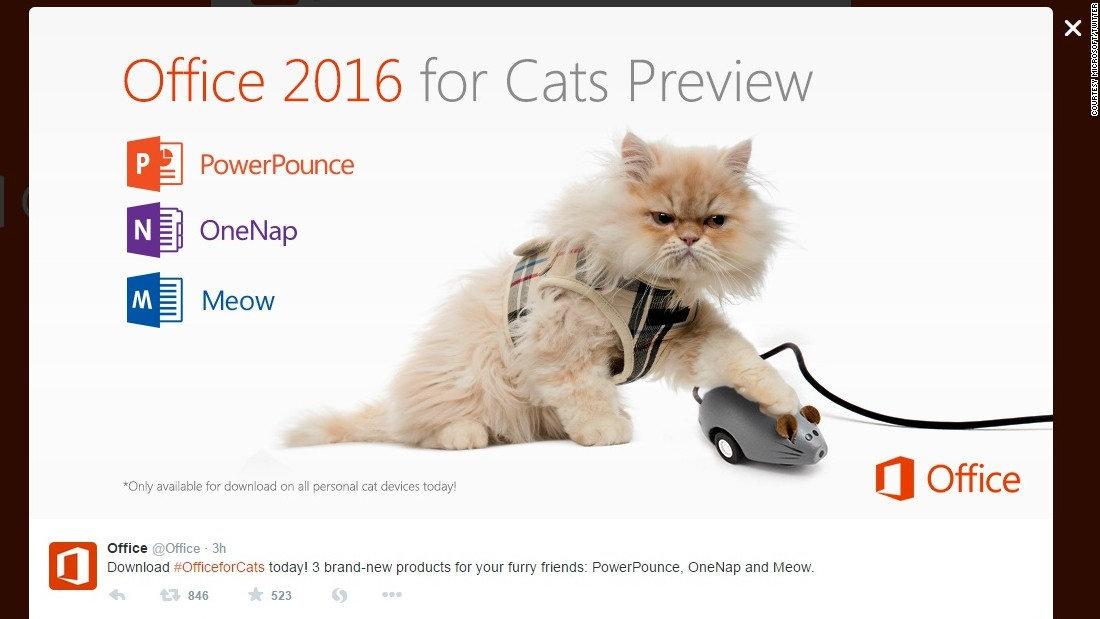 "More cat humor! Microsoft also announced <a href=""https://twitter.com/Office/status/583247441526390784"" target=""_blank"">Office 2016 for Cats</a>. We're not sure what ""PowerPounce"" is, but we'd like to find out."