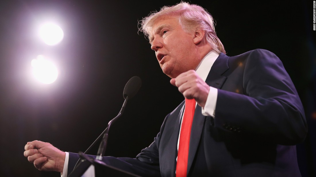 Trump speaks to guests at the Iowa Freedom Summit on January 24, 2015, in Des Moines, Iowa.