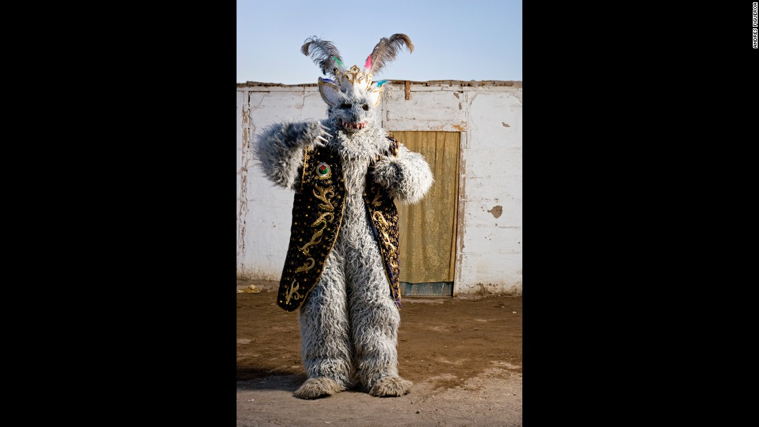 "Carlos Callasaya dresses for a festival in La Tirana, Chile. ""I was interested in documenting all the signs and symbols that appear in each costume and character, all the indigenous and Catholic syncretism,"" Figueroa said."