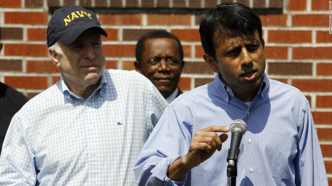 Jindal speaks at St. David's Catholic Church in New Orleans with Sen. John McCain during the Arizona senator's bid for president in 2008.