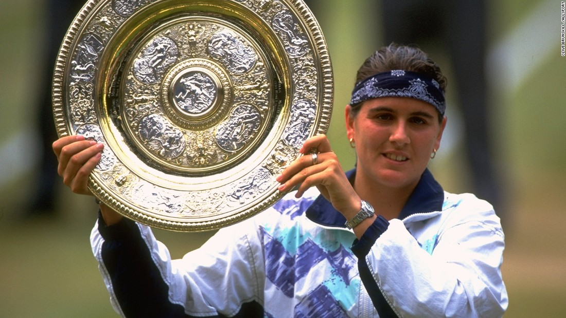 With 739 victories, Conchita Martinez of Spain is the seventh highest winner in women's tennis. Here she lifts the Wimbledon trophy in 1994.
