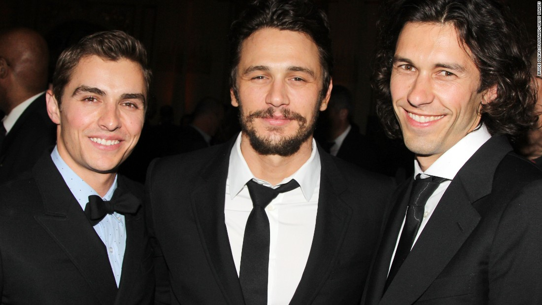 "Dave, left, James and Tom Franco attend the after-party for the Broadway opening night of ""Of Mice and Men"" in New York on April 16. James Franco played George in the adaptation of the John Steinbeck novel."