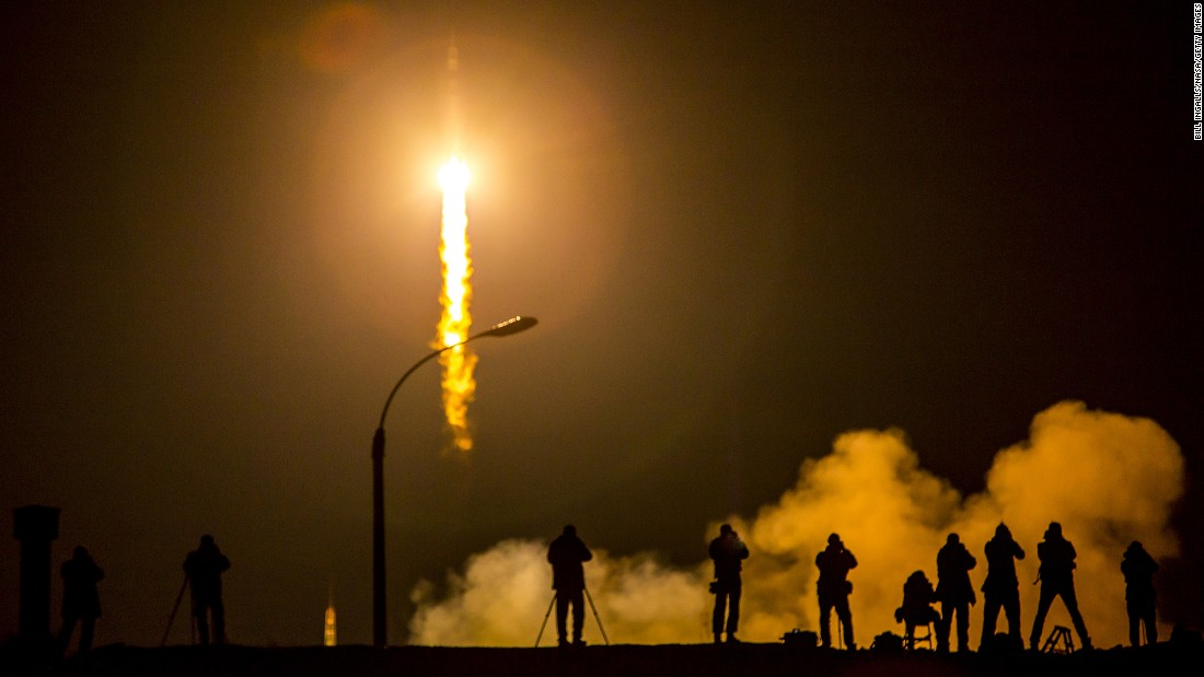 The Soyuz TMA-16M spacecraft launches from the Baikonur Cosmodrome in Kazakhstan on March 27.