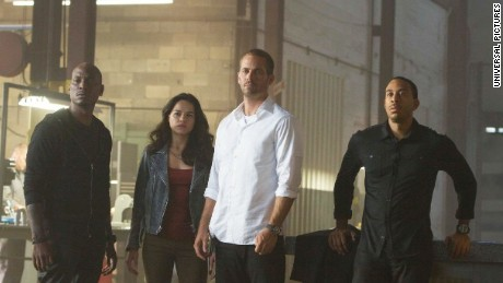 "Tyrese Gibson, Michelle Rodriguez, Paul Walker and Ludacris in ""Furious 7."""
