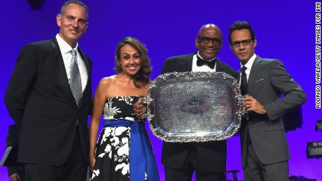 MIAMI BEACH, FL - MARCH 31: (L-R) BMI President and CEO Mike O'Neill, BMI Vice President Delia Orjuela, Sergio George and Marc Anthony onstage at BMI's 22nd Annual Latin Music Awards at Fountainbleau Miami Beach on March 31, 2015 in Miami Beach, Florida.