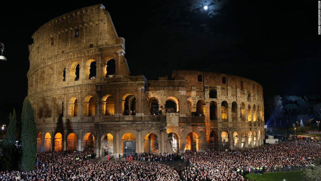 Pope Francis leads the Way of the Cross celebration at the Colosseum in Rome on April 3.