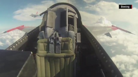F-16 fighter jet flies with empty cockpit