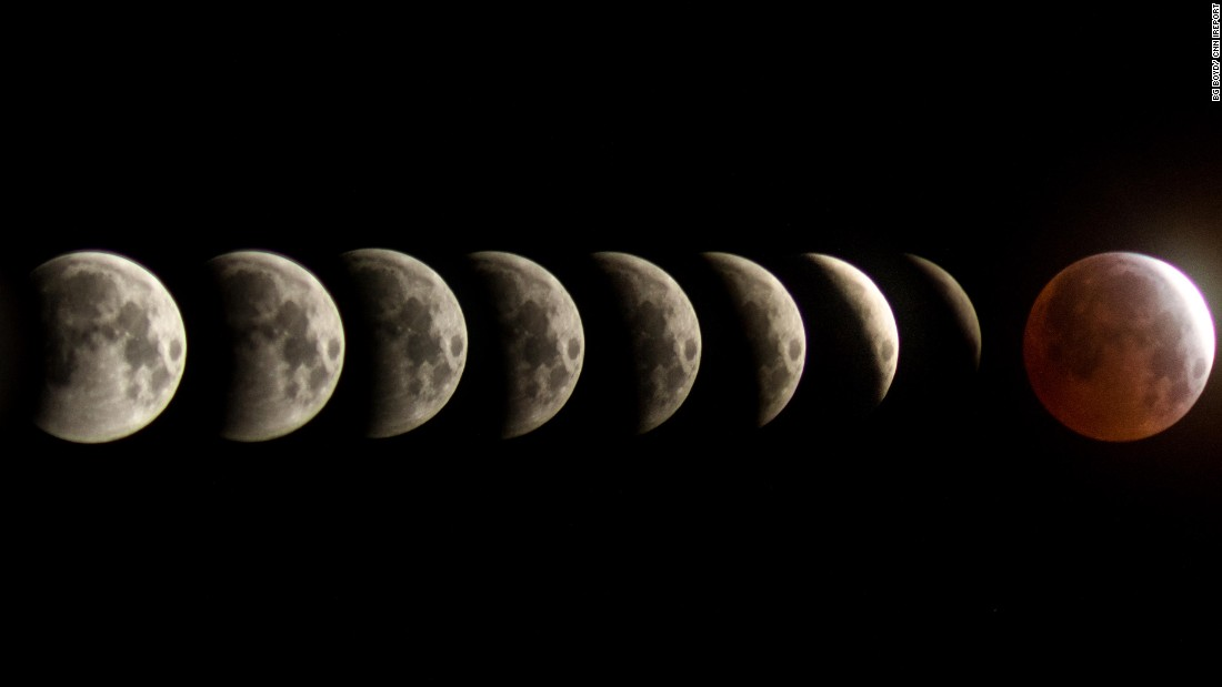 "<a href=""http://ireport.cnn.com/docs/DOC-1231089"">BG Boyd </a>created a composition of the total lunar eclipse between the span of two hours Saturday morning in Tucson, Arizona. There are 10 minutes between each frame, he explained"