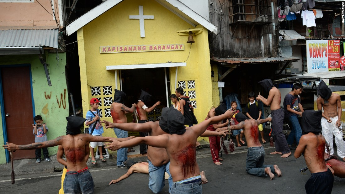 The dominant Roman Catholic church does not condone flagellation or crucifixion, but some devout Catholics say it is a means of atoning for their sins.