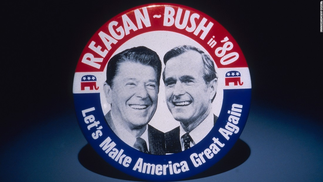 A 1980 campaign button features Reagan and his running mate, George H. W. Bush.