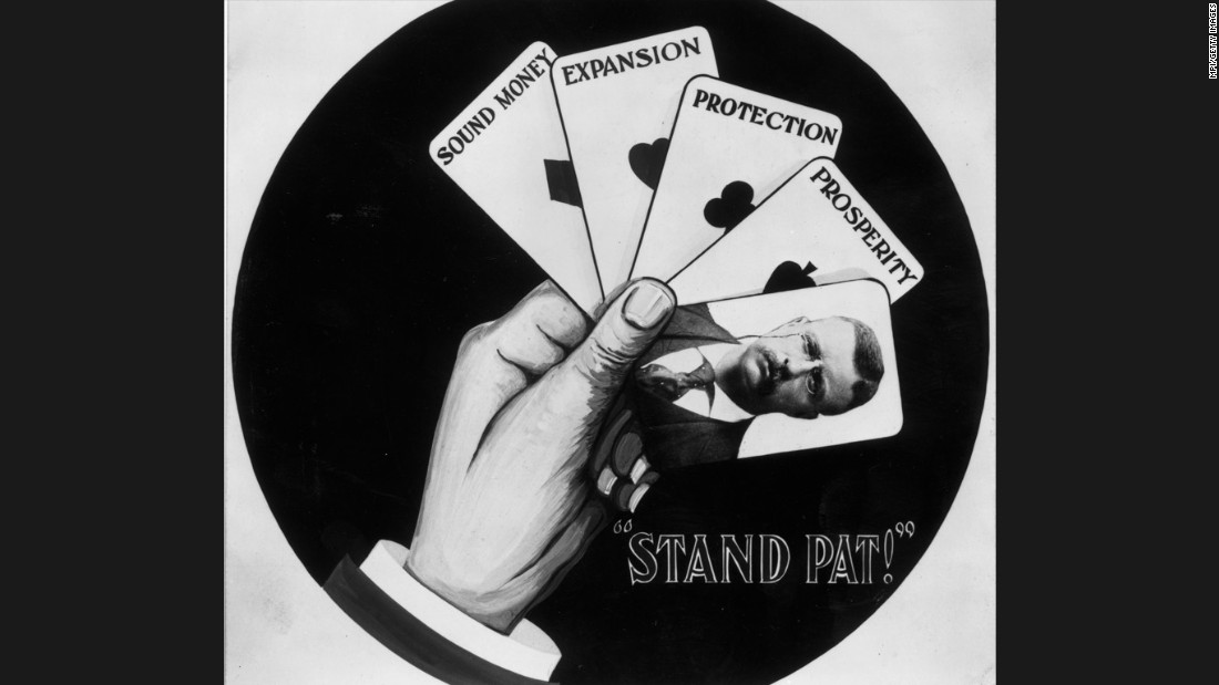 "A campaign poster supporting the re-election of President Theodore Roosevelt stresses his policies of sound money, expansion, protection and prosperity. Roosevelt, who assumed the presidency when President William McKinley was assassinated in 1901, used the slogan, ""Stand pat!"""