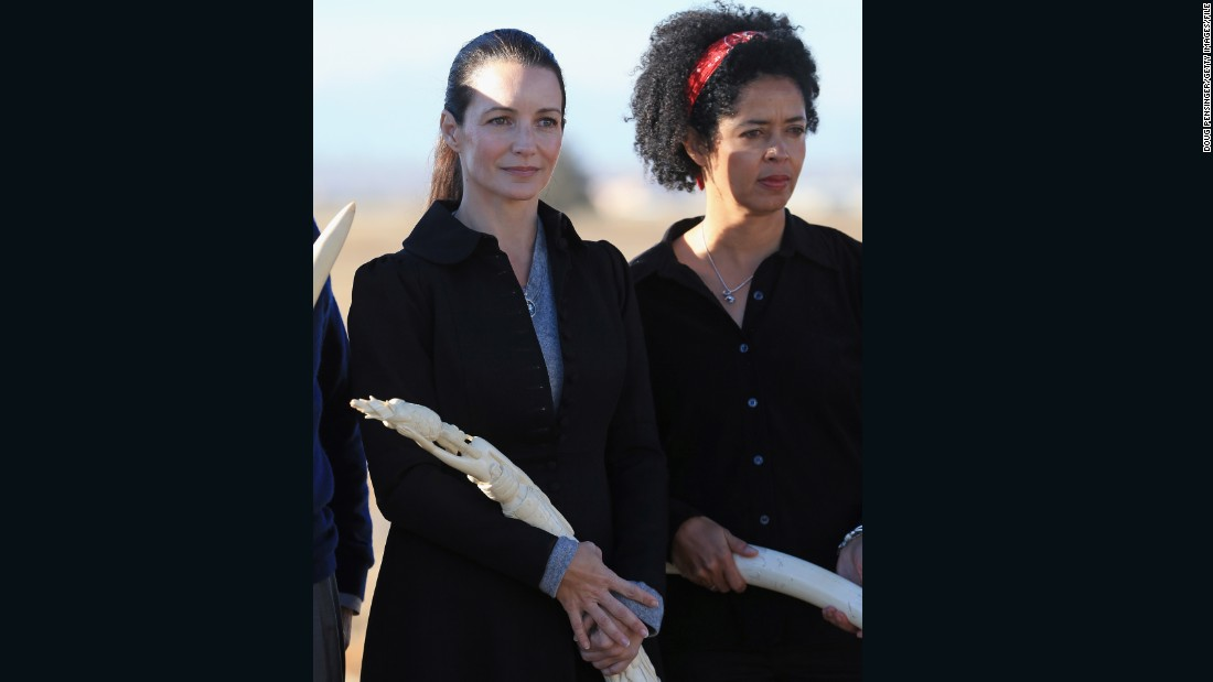 Actress Kristin Davis and Paula Kahumbu attend the U.S. Ivory Crush at the Rocky Mountain Arsenal Wildlife Refuge on November 14, 2013 in Commerce City, Colorado.