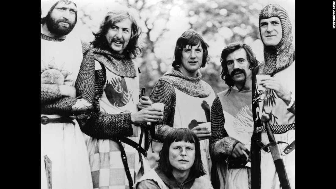 "From left, Graham Chapman, Eric Idle, Michael Palin, Terry Jones, John Cleese and Terry Gilliam (foreground) in 1975's ""Monty Python and the Holy Grail."""