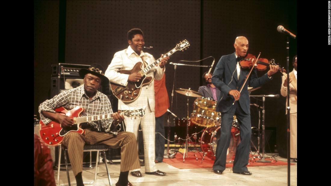 "From left, John Lee Hooker, King and Papa John Creach perform on the television show ""The Midnight Special"" in 1974."