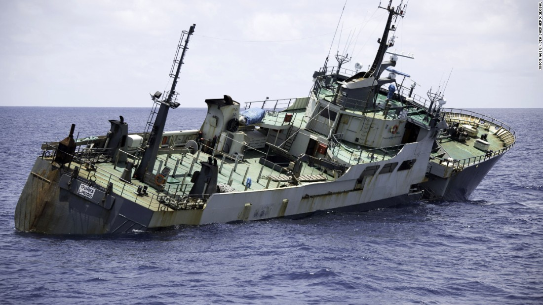 The Thunder lists dramatically to the starboard side as it takes on water. The captain of the Sea Shepherd vessel that came to the rescue told CNN that he believed that the Thunder was deliberately sunk to destroy evidence of illegal fishing.