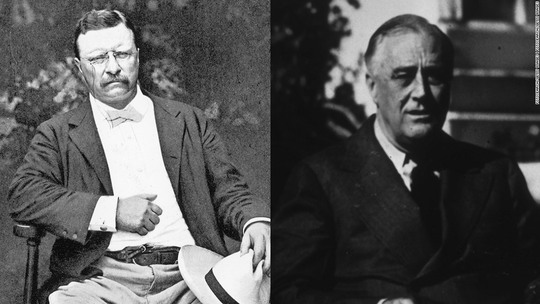 The relationship between two of America's most famous presidents, Teddy Roosevelt (left) and Franklin Delano Roosevelt, actually isn't as close as many assume. They were fifth cousins. Their closest tie was Franklin Roosevelt's wife, Eleanor, who was Teddy Roosevelt's niece.