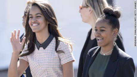 Malia and Sasha Obama arrive prior to their father, President Barack Obama, at the Edmund Pettus Bridge on March 7, 2015, in Selma, Alabama. The Obamas were in Alabama to commemorate the 50th anniversary of Bloody Sunday, when voting rights marchers attempting to walk to the Alabama capitol clashed with police.