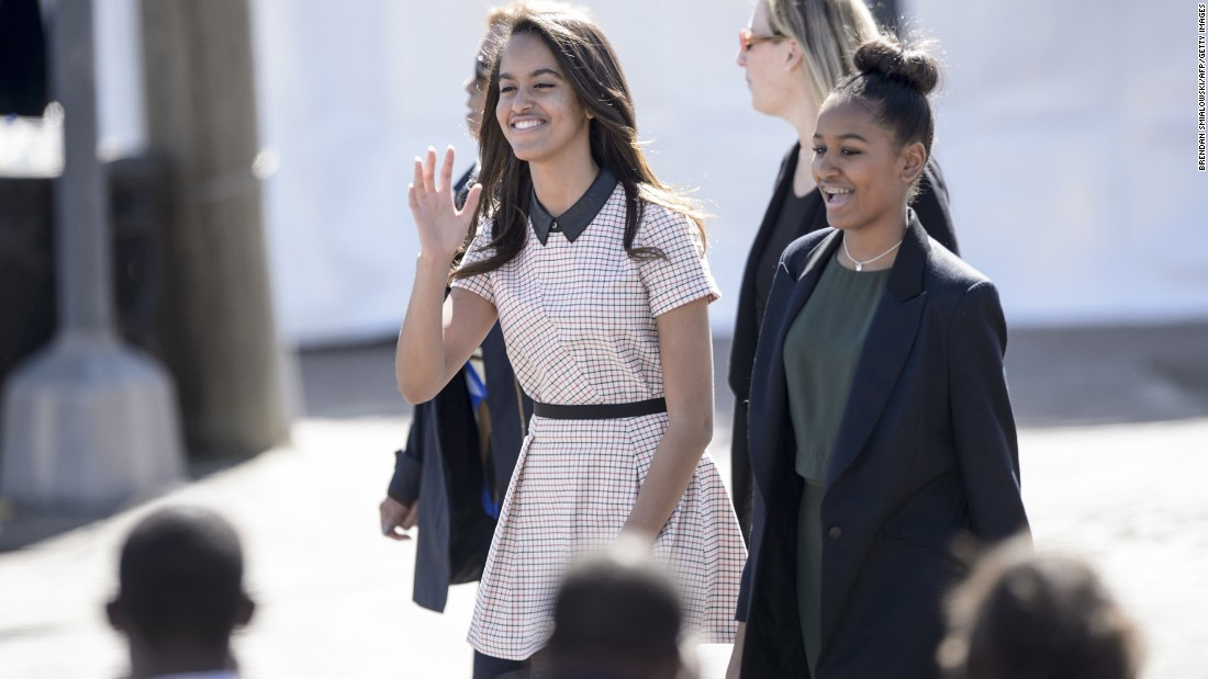 "Malia and Sasha arrive at the Edmund Pettus Bridge in Selma, Alabama, in March 2015. The Obamas were in Alabama to commemorate the <a href=""http://www.cnn.com/2015/03/08/us/selma-50-years-anniversary-live-events/"">50th anniversary of Bloody Sunday</a>, when state troopers clubbed and tear-gassed civil rights marchers headed to Montgomery."
