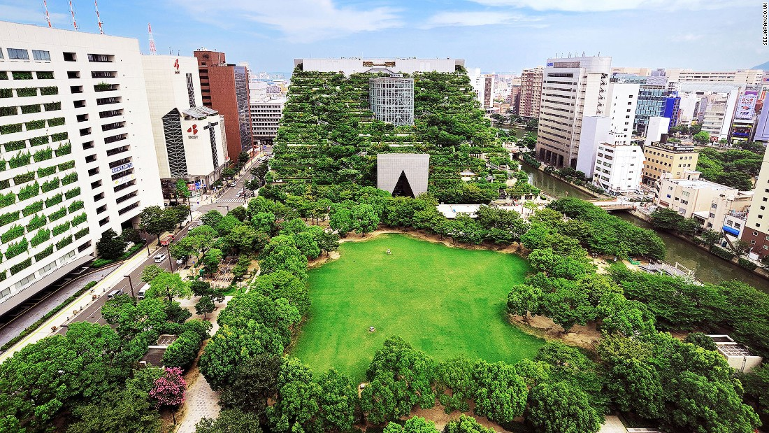Rising like an overgrown Inca pyramid out of downtown Fukuoka, the ACROS Fukuoka building was designed by Argentine architect Emilio Ambasz and contains more than 50,000 plants and trees.