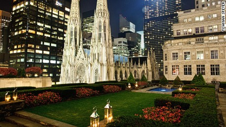 The gardens offer views over Fifth Avenue and St. Patrick's Cathedral.