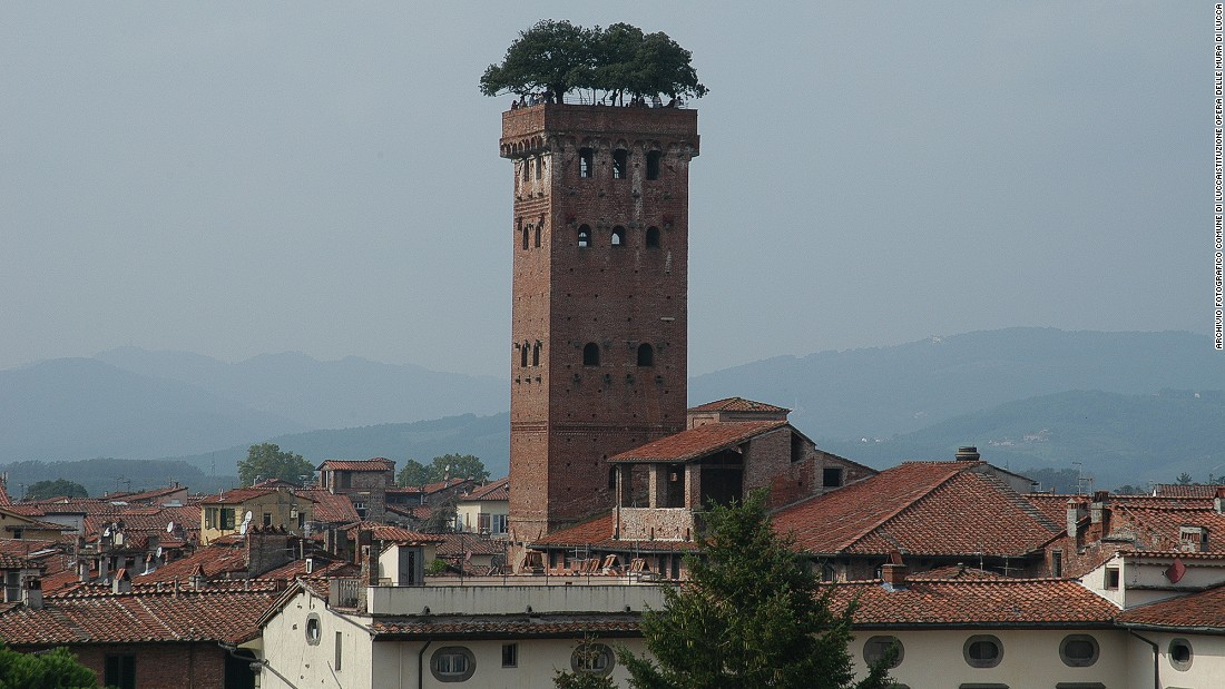 The town of Lucca's centerpiece is the Torre (Tower) Guinigi, instantly recognizable for its crown of holm oaks, planted as a statement of nobility by the Guinigi family in the 1300s.