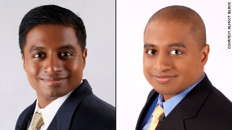 Vijay Chokal-Ingam says he changed his look to appear black, right, when he applied to medical school.