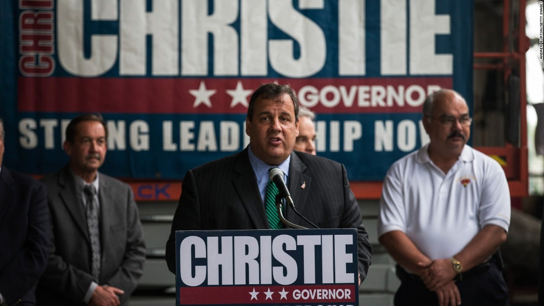 Christie speaks to members of the Hudson County Building Trades Council after receiving their support for his re-election campaign for governor on July 1, 2013, in Jersey City, New Jersey.