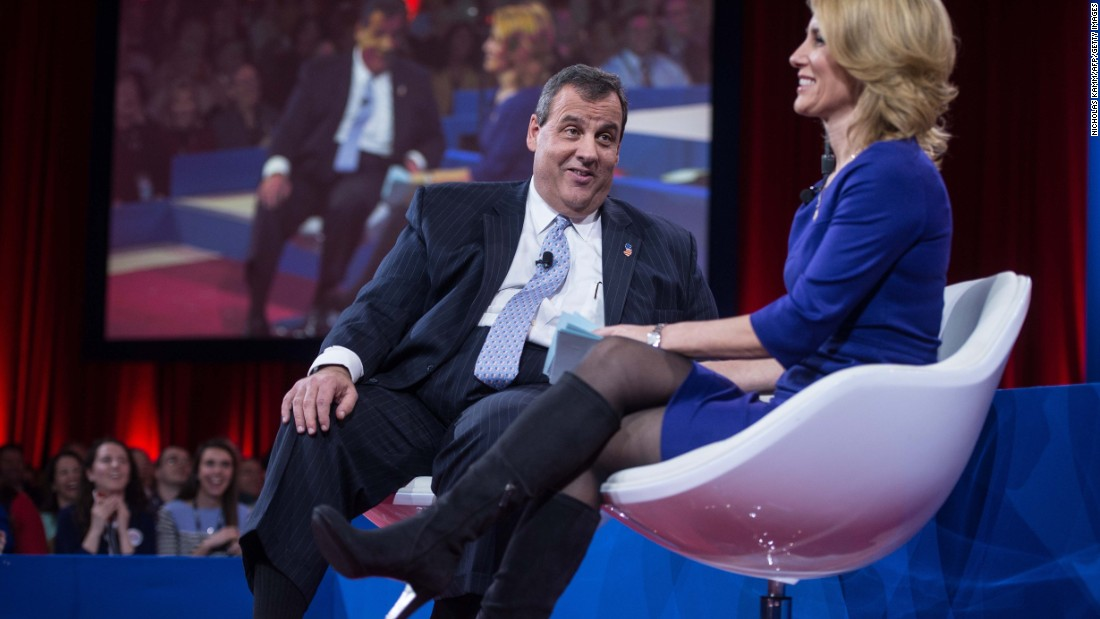 Christie jokes with host Laura Ingraham as he addresses the annual Conservative Political Action Conference at National Harbor, Maryland, on February 26.