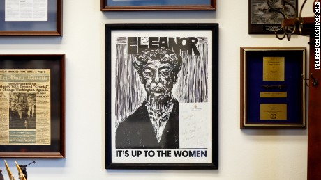 Framed art featuring Eleanor Roosevelt, an early women's rights advocate, decorates Rep. Carolyn Maloney's office on Capitol Hill. It was a gift from Rep. Patricia Schroeder, a fervent ERA supporter and a co-founder of the Congressional Women's Caucus.