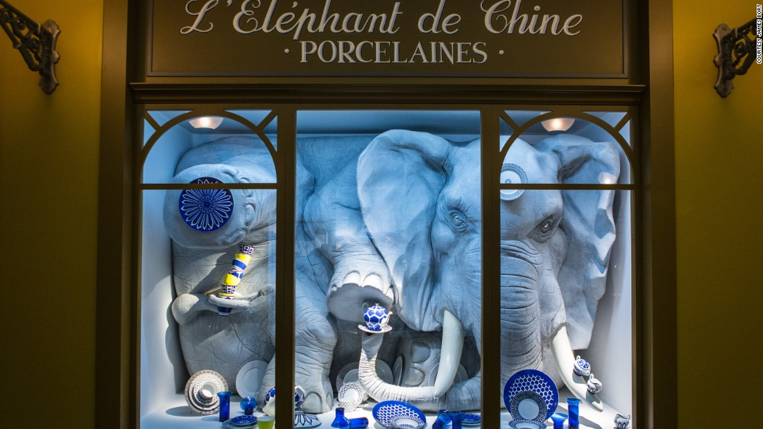 <em>Wanderland </em>is Hermès' tribute to the 19th-century flâneur, and the curiosity and sophistication they embodied. (The elephant in a porcelain store, seen here, is the French equivalent of a bull in a China shop.)