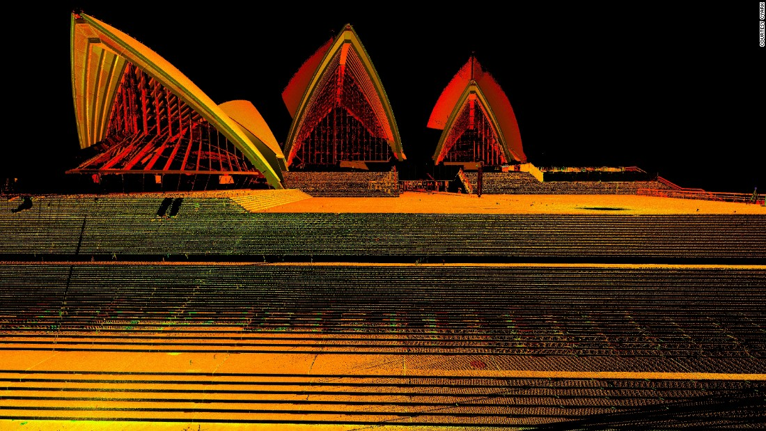 3D perspective image of the Sydney Opera House, captured from laser scan data.