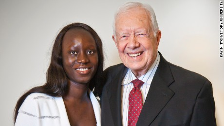Fatu Kekula with former President Jimmy Carter