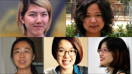 Clockwise from top left: Li Tingting, Wu Rongrong, Zheng Churan, Wei Tingting, Wang Man. They have have been detained by Chinese authorities.
