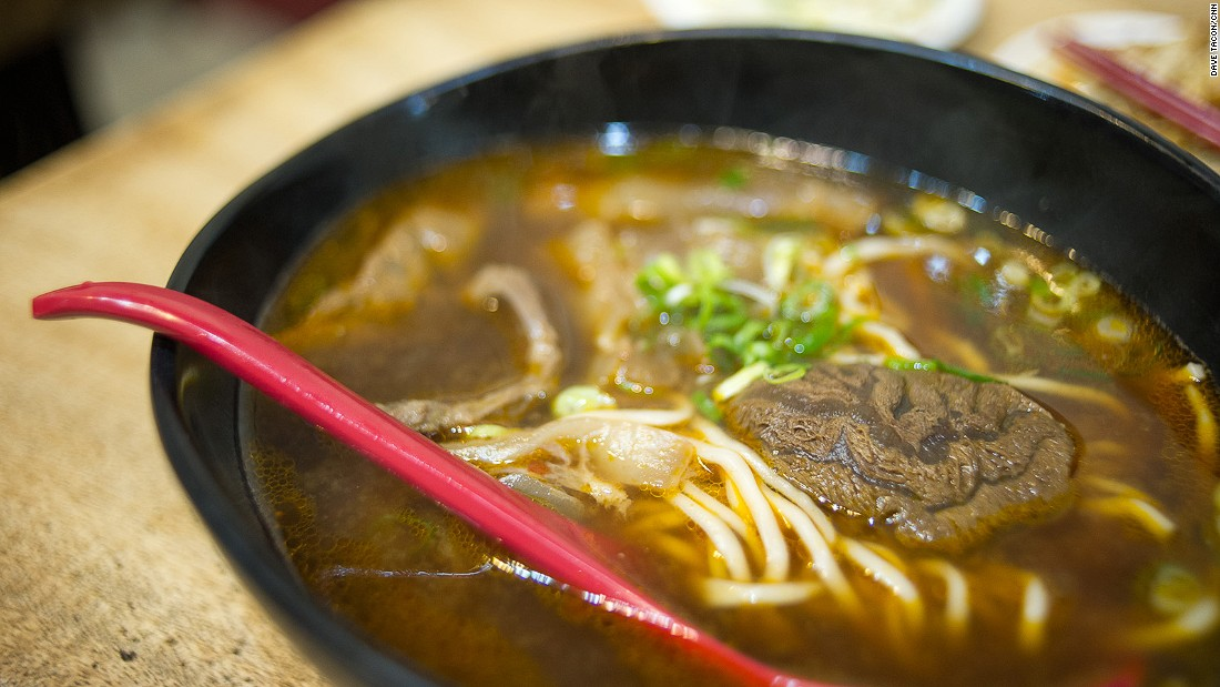 Unlike many red braised broths, Mien Mien's Sze-chuan (Sichuan) beef bone noodle soup is searingly spicy.