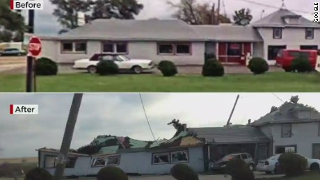 Before and after tornado damage