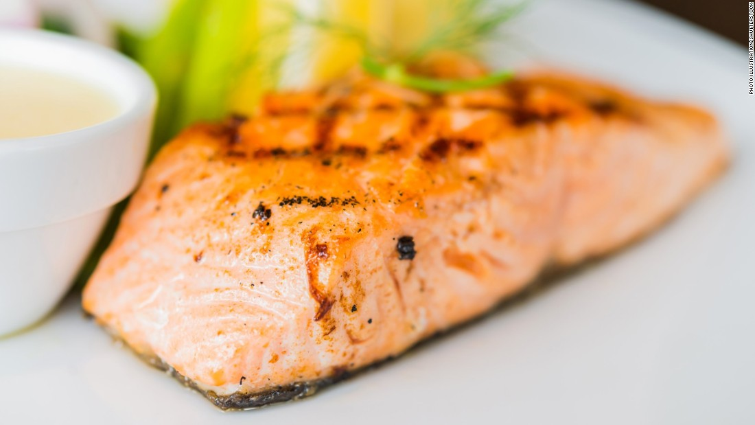 "The MIND diet suggests eating at least one serving of fish a week. In contrast, <a href=""http://www.uhs.wisc.edu/health-topics/healthy-lifestyle/documents/Mediterranean.pdf"" target=""_blank"">the Mediterranean diet</a> suggests eating more like 2-3 servings a week. Salmon, considered a ""superfood,"" gives you a high dose of omega-3 fatty acids which studies show lower the risk of heart disease and fight inflammation. <a href=""http://researchnews.osu.edu/archive/omega3.htm"" target=""_blank"">Earlier studies</a> showed it also reduces anxiety."