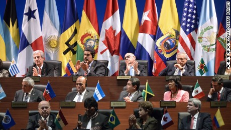 Leaders of the Americas attend the opening ceremony of the Summit of the Americas at the ATLAPA Convention Center in Panama City on April 10, 2015. US President Barack Obama and Cuba's Raul Castro stood near each other at a historic Summit of the Americas on Friday, marking a major milestone in their efforts to end decades of animosity.   AFP PHOTO / JOHAN ORDONEZ        (Photo credit should read JOHAN ORDONEZ/AFP/Getty Images)