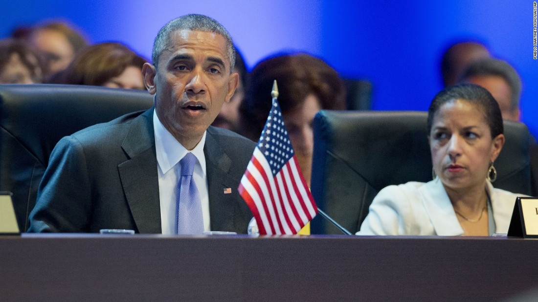 Obama addresses the opening plenary of the Summit of the Americas on April 11. Susan Rice, the U.S. national security adviser, is at right.