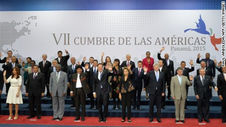Presidents and Heads of State pose during the family picture of the VII Americas Summit at the Convention Center in Panama City on April 11.