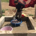 yazidi refugee camp washing