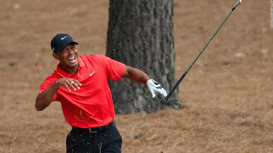 Tiger Woods hurt his wrist after hitting from the pine straw on the ninth hole during his final round. The four-time Masters winner saved par but bogeyed the next hole to drop to four under par.