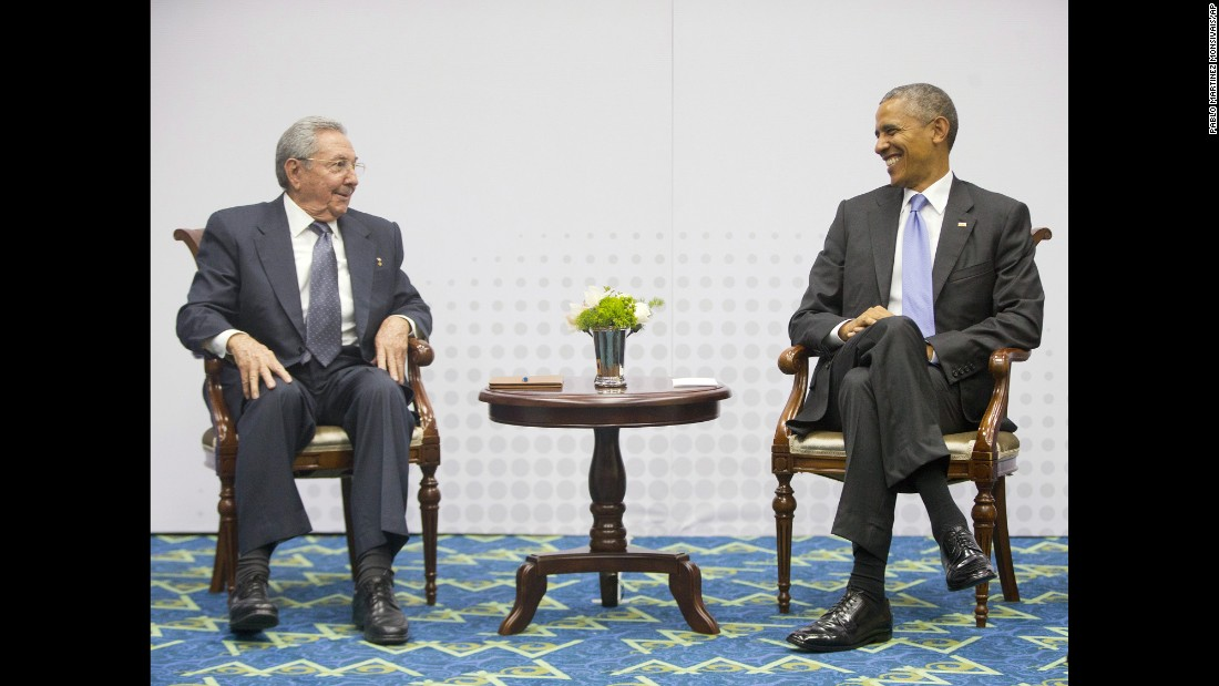 "President Barack Obama holds a joint press meeting with Cuban President Raul Castro at the VII Summit of the Americas in Panama City, Panama, on Saturday, April 11. Regional leaders gathered for the historic summit that saw <a href=""http://www.cnn.com/2015/04/11/politics/panama-obama-castro-meeting/index.html"">U.S. and Cuban leaders sit face to face</a> for the first time in more than 50 years. In December, Obama announced he was seeking to renew diplomatic ties with Cuba after half a century of strife, including eventually opening embassies in Washington and Havana."