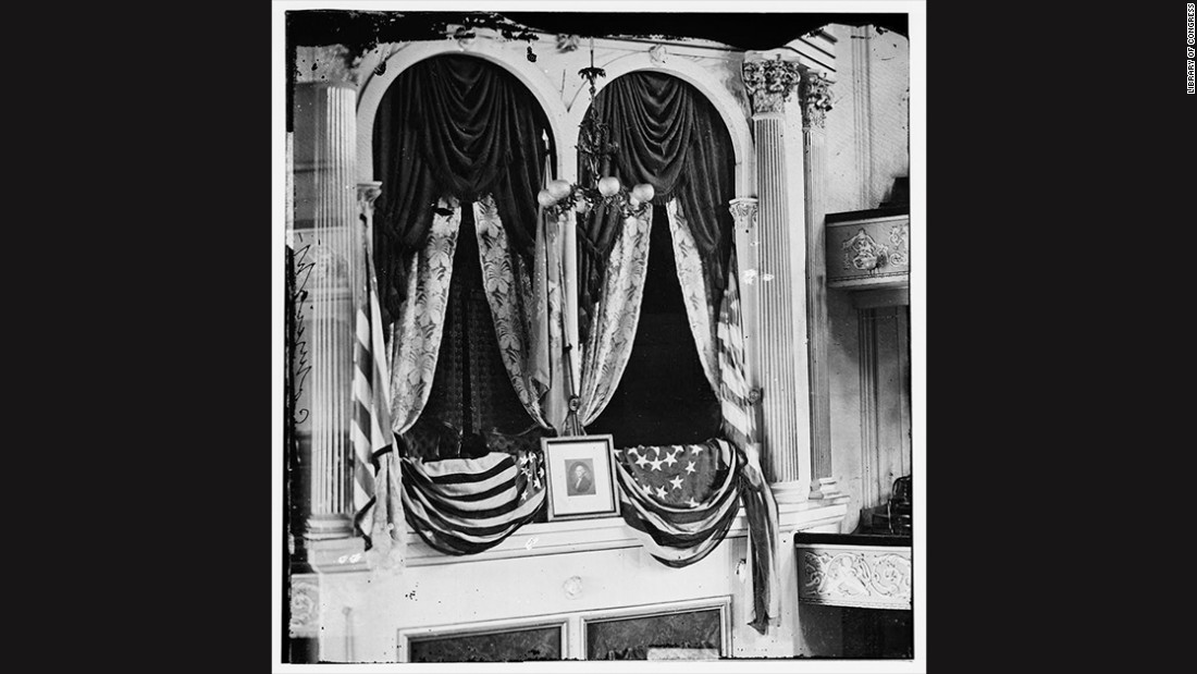 The State Box at Ford's Theatre was photographed shortly after Lincoln's assassination on April 14, 1865. The president was seated in the box with first lady Mary Todd Lincoln and two guests.