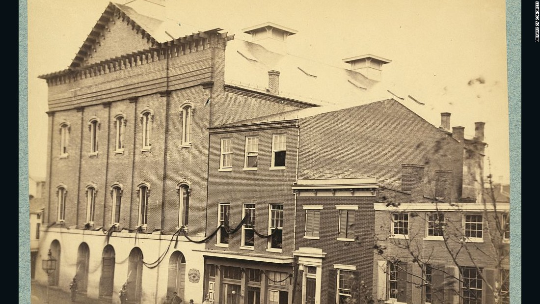 The exterior of Ford's Theatre in Washington, D.C., is pictured in 1865. After Lincoln's assassination, the space was sold to the government and remained closed until 1968.