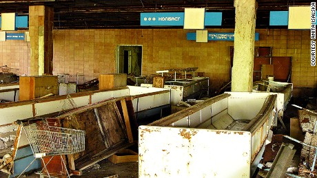 The rotting remains of an abandoned supermarket.