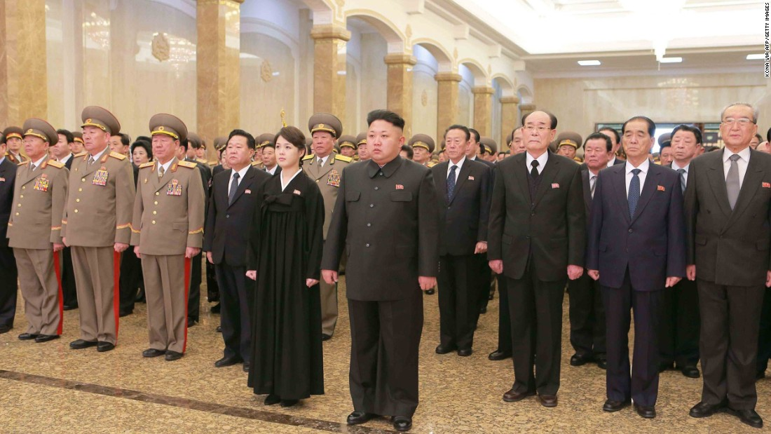 Before Monday's football match, North Korea's first lady hadn't been seen since this photo was released on December 17, 2014. Here, she is seen accompanying Kim to the Kumsusan Palace of the Sun in Pyongyang on the third anniversary of death of his father, former leader Kim Jong Il.