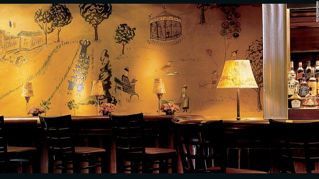 The most interesting aspect of Bemelmans may be the wall art by Ludwig Bemelmans, the creator of the Madeline books and the bar's namesake.