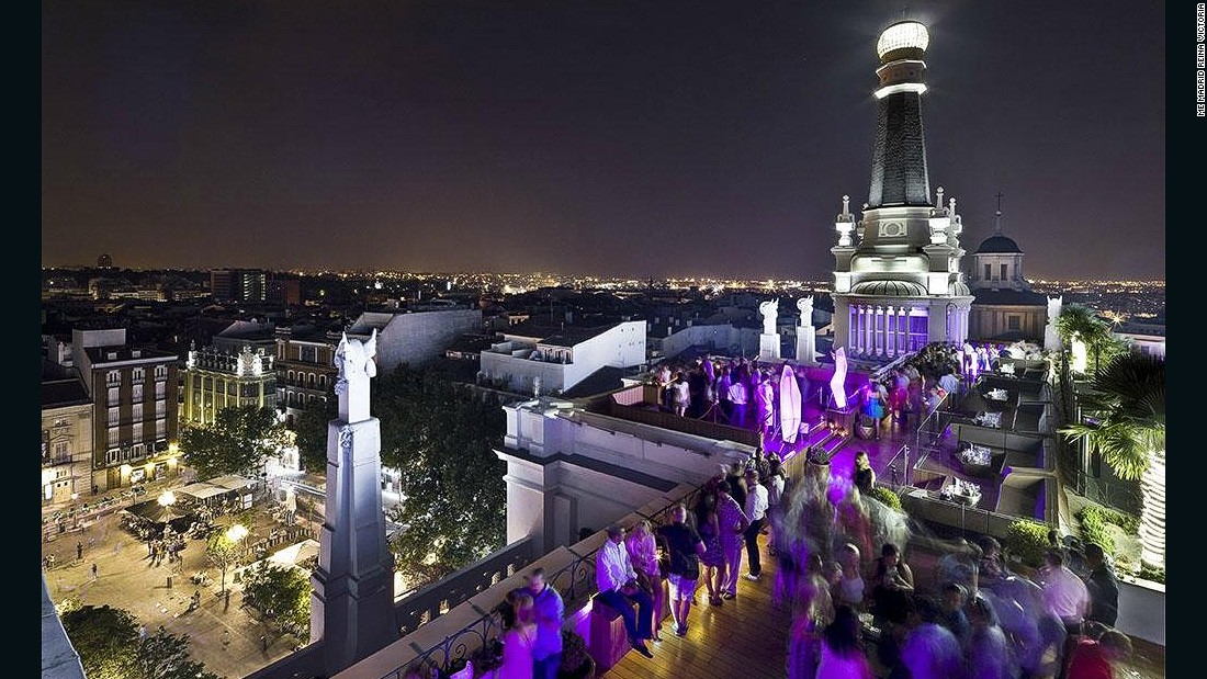 Carved into a broken stone wall, decked out in leather and metal and illuminated by purple mood lighting, this bar feels sort of Vegas -- but with sweeping views over Spain's capital.