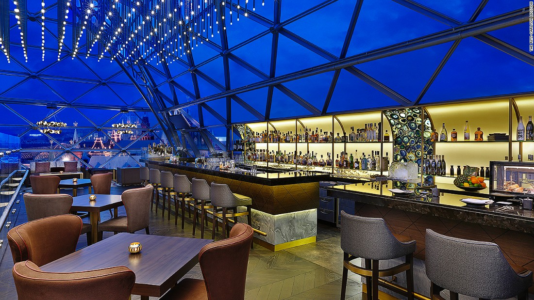 This bar is located on the top floor of the Ritz-Carlton Moscow and has spectacular views over Red Square, the Kremlin, Spasskaya tower and the Cathedral of Christ the Savior.