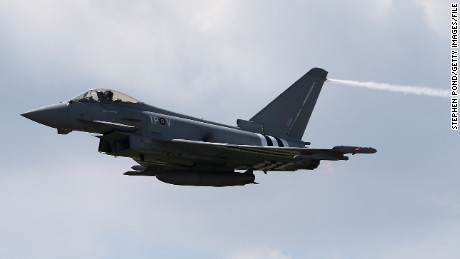 A UK Royal Air Force Typhoon. Four of the Typhoons will participate in drill in Japan and South Korea.
